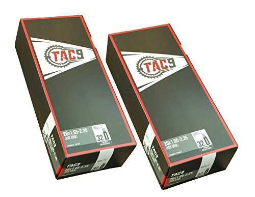 """TAC 9 2 Pack Money Saver - Thorn Resist Tube, 26"""" x 1.95-2.35 32mm Schrader Valve, Mountain Bike, Cruiser, MTB, MTN Bicycles Replacement Tube Puncture Resistent"""