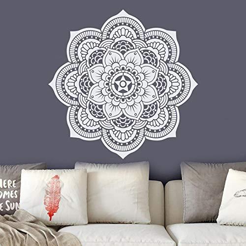 Decoración de pared de mandala para sala de estar, dormitorio, yoga, estudio, decoración de dormitorio, patrón marroquí, pegatinas de flores A5, 57 x 57 cm