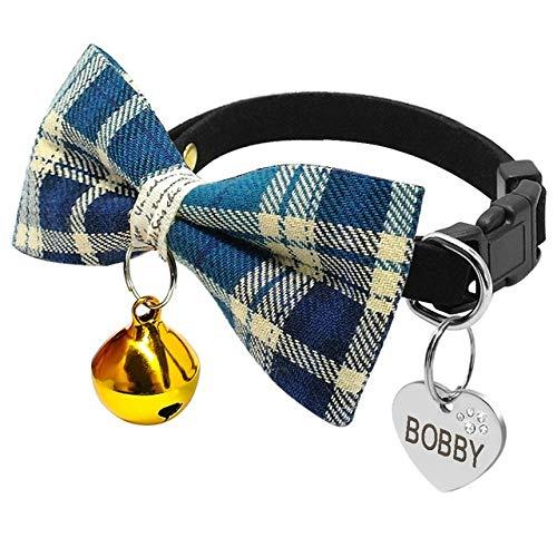 WEIZI Collar de pajarita para cachorro, gatito a cuadros con grabado personalizado, etiqueta de identificación para perros y gatos, collares para perros pequeños para chihuahua (color: azul)