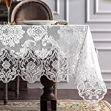 ARTABLE Lace Table Cloths Rectangle Fall Antique Flower Decor Macrame Tablecloth for Outdoor Farmhouse Rustic Kitchen Party Birthday Picnic (White-3, 60 x 120 Inch)