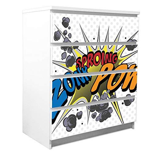 banjado Möbelfolie passend für IKEA Malm Kommode 4 Schubladen | Möbel-Sticker selbstklebend | Aufkleber Tattoo perfekt für Wohnzimmer und Kinderzimmer | Klebefolie Motiv Comic