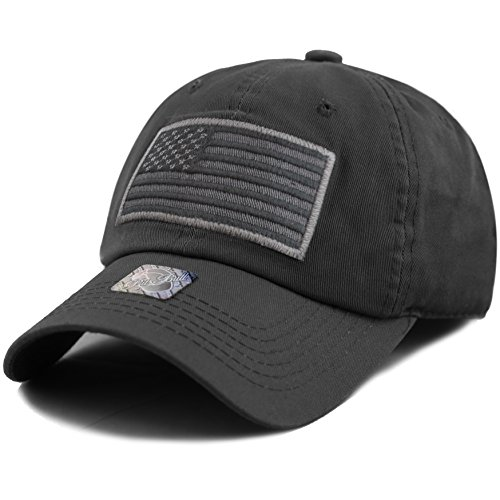 The Hat Depot Low Profile Tactical Operator USA Flag Buckle Cotton Cap (Black-2)