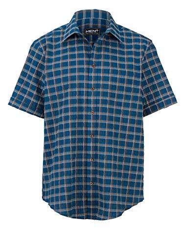 Men Plus by HAPPYsize Herren Seersucker-Hemd Spezialschnitt – Kurzarm-Hemd aus Baumwolle, Oberhemd in Karo-Optik, in Petrol, Gr. 64/66