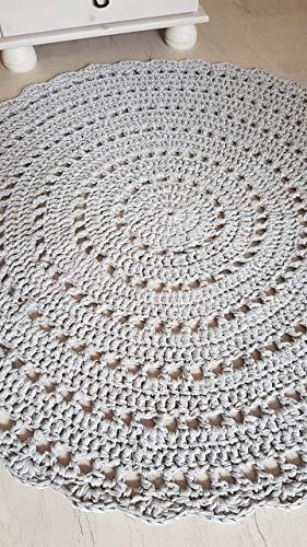 Teppich Häkelteppich rund Kinderteppich Kinderzimmer hellgrau Mandala ab 85 cm