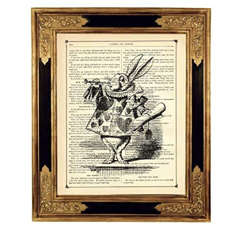Alice im Wunderland weißes Kaninchen Poster Kunstdruck auf antiker Buchseite Trompete Geschenk Steampunk Bild SW ungerahmt