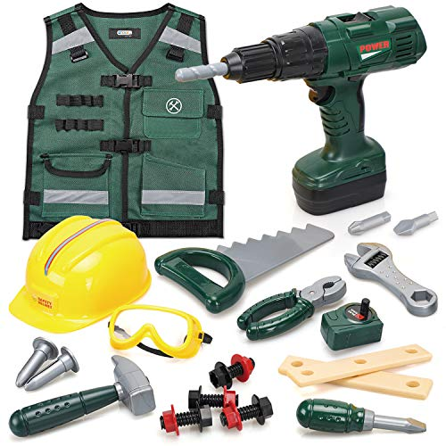 Kids Construction Worker Costume - Kids Tool Set with Battery Powered Toy Drill - Pretend Play Toy Tool Set for Toddlers with Tool Vest, Hard Hat, Drill, Toy Tools - Play Tools for Kids 3 4 5 6 7