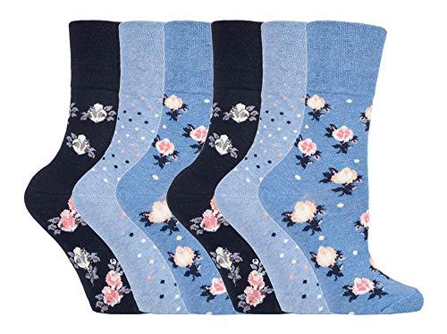 Gentle Grip - 6er Pack Damen Baumwolle Ohne Gummib& Socken | Socken mit Bunt Elegant Motiv (37/42, SOLRH177)