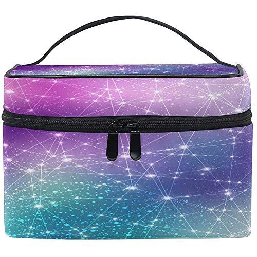 Grand sac de maquillage organisateur galaxie espace constellation univers cosmétique étui sac de rangement de toilette trousse de fermeture à glissière portable voyage brosse sac
