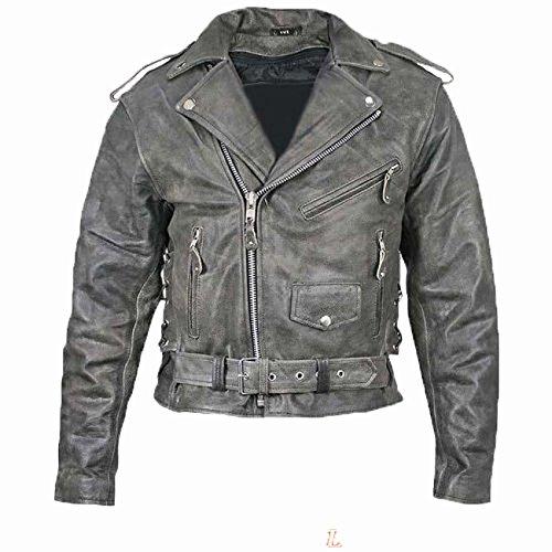 Australian Bikers Gear Vintage Retro Distressed Antik Leder Harley Motorrad Jacke CE Armour (6x l 132,1cm–131cm)