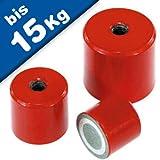 Magnete cilindrico di fermo in AlNiCo, rosso - fino a 450 °C, filetto dentro:ø 65 x 43mm - M12