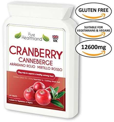 Sans Gluten Pilules de Complément Concentré de Canneberge (Cranberry). Equivalent à 12600 mg de...