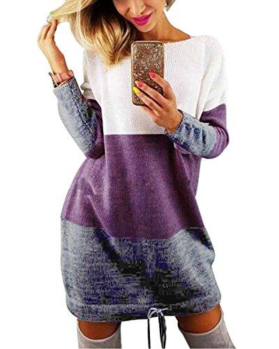Minetom Damen Pullover Kleider Winterkleider Kleid Strickkleider Langarm Mode Stricksweat Strickpullover Lose Sweatkleid Minikleid Violett DE 44