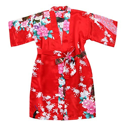 WONDERFIT Girls Stain Kimono Peacock Flower Robe for Spa Wedding Birthday Red 3-4Y New York
