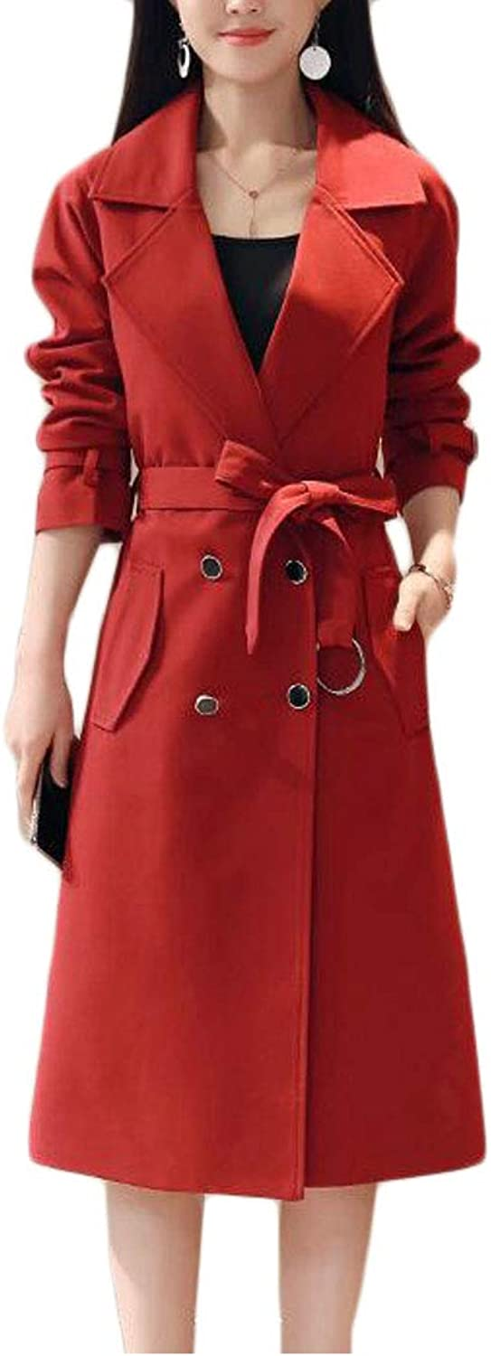 Sweatwater Womens Elegant Notched Lapel DoubleBreasted Trench Coat with Belt