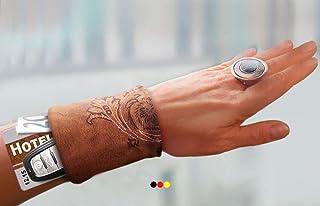 Armbandtasche Leder Look braun Handgelenktasche Armband Geldbörse Geldbeutel Stretch Reißverschluss Handgelenk Portemonnaie Lederband Lederarmband Ledertasche Festivaltasche Tanztasche