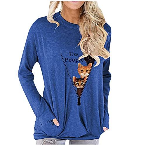 Deman Pullover Sweatshirts Langarm Neun-Punkt-T-Shirt mit V-Ausschnitt und Dinosaurier-Cartoon-Print für Frauen
