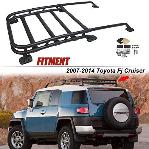 ECOTRIC Compatible with 2007-2014 Toyota Fj Cruiser | Roof Rack Rail Top Cargo Luggage Carrier Black-Coated Aluminum | Off-Road Type 150Lbs