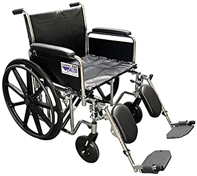 """ALCO 22"""" Heavy Duty Chrome Wheelchair (500 lb. Weight Capacity) with Removable Full Arms, Elevating Legrests and Black Vinyl Upholstery. 30"""" Overall Width - Please Measure Your Doorways - 30"""" by ALCO"""