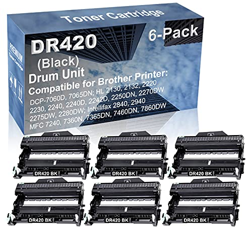 6-Pack Compatible Drum Unit (Black) Replacement for Brother DR420 DR-420 Drum Kit use for Brother Intellifax-2840, Intellifax-2940; MFC-7240, MFC-7360N, MFC-7365DN, MFC-7460DN, MFC-7860DW Printer