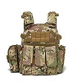RimFly Chaleco Táctico Militar para Airsoft con Compartimentos Entrenamiento con 3 Portacargadores y Ajustable Caza Ejercito de Combate Camuflaje Paintball Multicam Protección Profesional