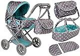 Lean Toys Alice Doll - Capazo para cochecito de bebé, color gris y turquesa