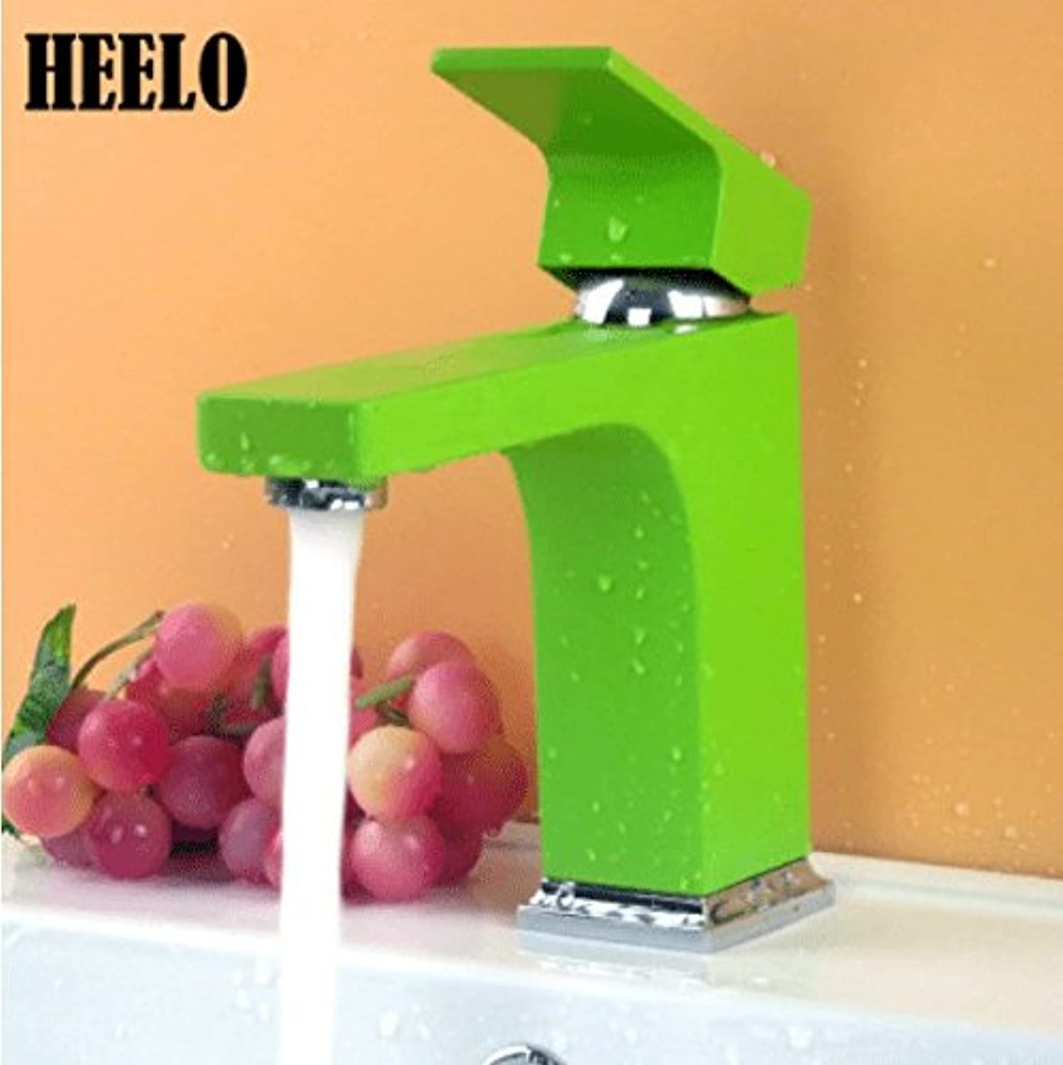 Lalaky Taps Faucet Kitchen Mixer Sink Waterfall Bathroom Mixer Basin Mixer Tap for Kitchen Bathroom and Washroom Square Copper Hot Green Green Black White