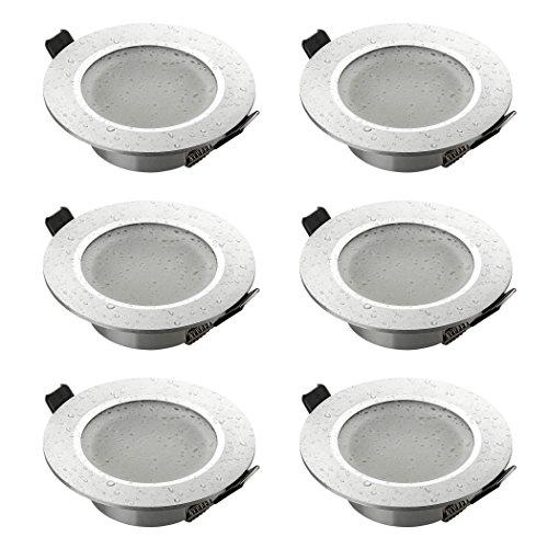 SEBSON Einbaustrahler 6er Pack Bad IP44 Alu gebürstet rund, Einbaurahmen Lochdurchmesser 75mm, Unterputz Decken Spot inkl. GU10 Fassung für LED/Halogen