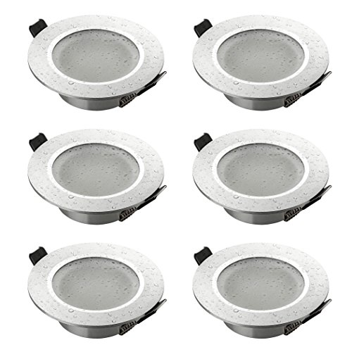 SEBSON® Einbaustrahler Badezimmer IP44, Badeinbaustrahler, Einbauleuchte Aluminium Silber, inkl. GU10 Fassung (LED, Halogen), 6er Pack