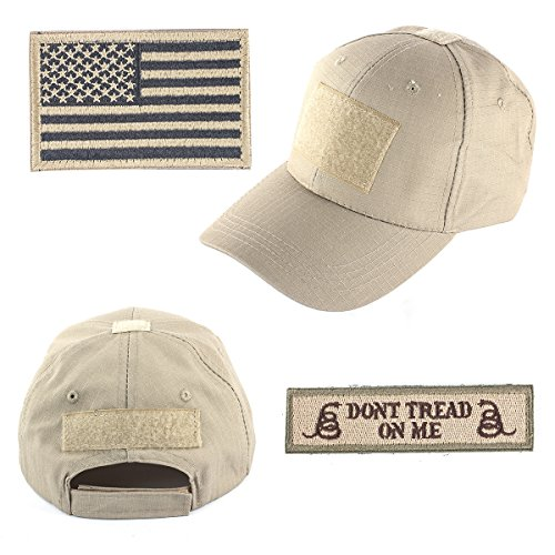 GES Tactical Hat for Men with 2 Pieces Military Patches, Adjustable Operator Hat with USA Flag/Dont Tread, American Flag Hat for Men Work, Gym, Hiking and More (Khaki Cap)