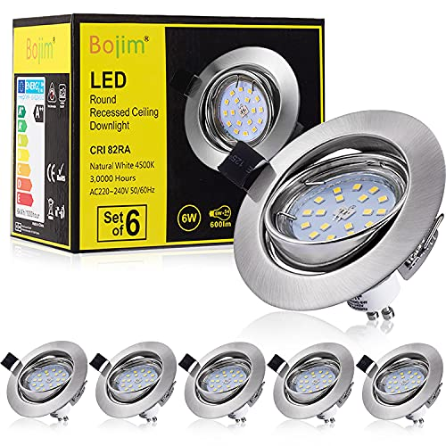Bojim 6 x Faretti LED da incasso per cartongesso GU10 6W, Lamapda da Soffitto, Lampada a...