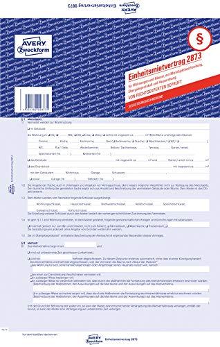 AVERY Zweckform 2873 Einheitsmietvertrag für Wohnungen und Häuser (A4, 5 Sätze mit Übergabeprotokoll und Hausordnung, 5-seitig mit selbstdruchchreibenden Durchschlag, von Rechtexperten geprüft)