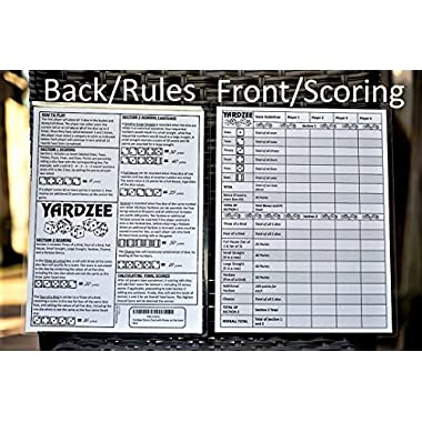 YARDZEE SCORE CARD with Rules on the back- Laminated Yardzee Score Card, Reusable Score Card, Size- 8.5  x 11