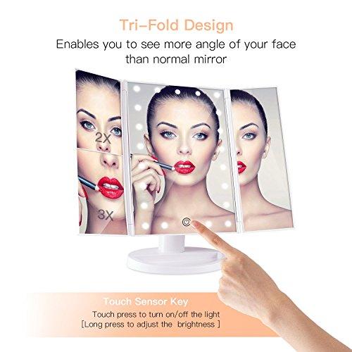 BESTOPE化粧鏡化粧ミラー鏡三面鏡女優ミラー卓上led付き折りたたみ拡大鏡2&3倍明るさ調節可能180°回転電池&USB2WAY給電