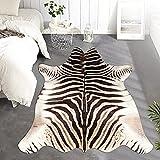 JINCHAN Zebra Print Area Rug Faux Skin Cowhide Animal Design Mat Safari Rug Indoor Floorcover for Bedroom Living Room 5x7 Safari Design