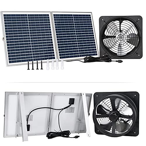 Pumplus Powerful 30W Solar Powered Attic Fan System, 30W Foldable Solar Panel & 12.6in Steel Fan with Anti-Rust Paint for Greenhouse/Shed/Garage