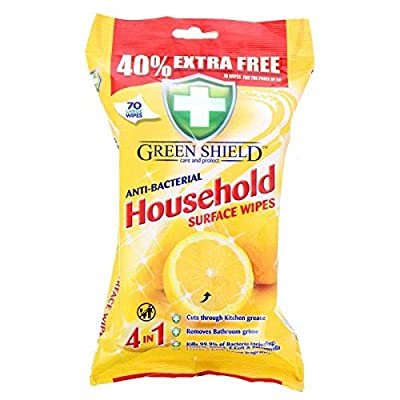 GreenShield 70 Large Antibacterial Household Surface Cleaning Wipes from GreenShield