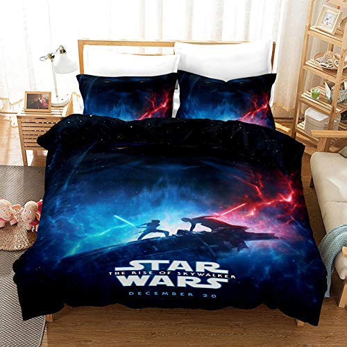 Duvet Cover King Size 240x200 cm Bedding set 3 Piece with 2 Pillowcases 50x75 cm Star Wars 3D Printing Design Soft Microfiber Quilt Cover Set with Zipper