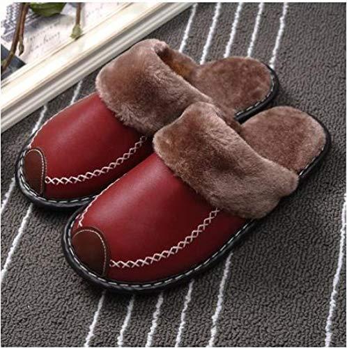 B/H Pantuflas de invierno para mujer y hombre, con puntera de piel de vaca, zapatos cálidos, impermeables, para el hogar, zapatillas de algodón rojo vino, 36, zapatillas de espuma viscoelástica