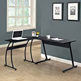 Black Finish Metal Wood L-Shape Corner Computer Desk PC Laptop Table Workstation Home Office