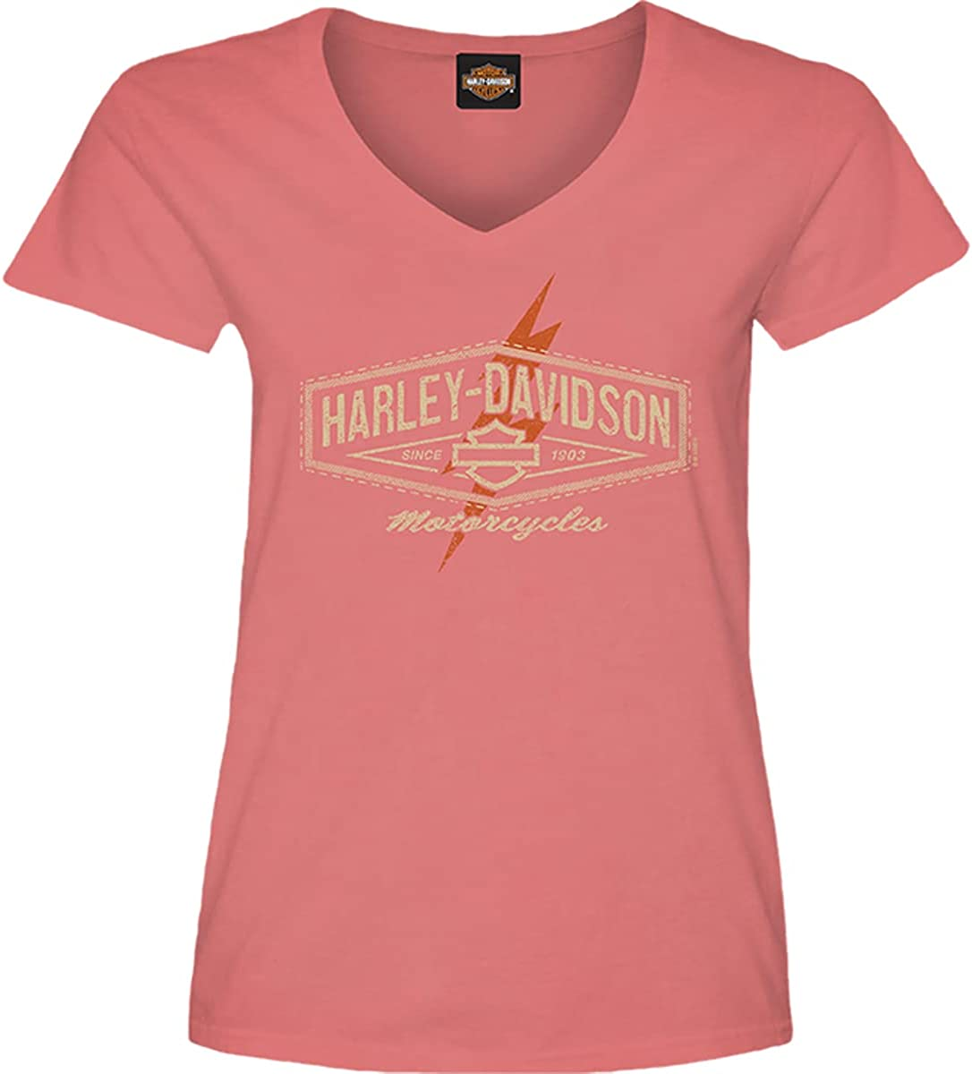 Harley-Davidson Military - Women's Coral Graphic V-Neck T-Shirt - Camp Leatherneck   Circuit