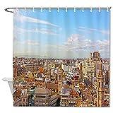 Tela decorativa famoso paisaje decorativo patrón cortinas de ducha con ganchos el cielo edificio España Valencia decoración baño 60 'x 72'
