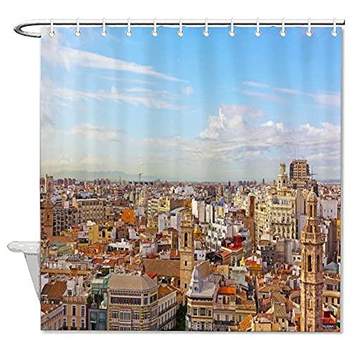 """Tela decorativa famoso paisaje decorativo patrón cortinas de ducha con ganchos el cielo edificio España Valencia decoración baño 60 """"x 72"""""""