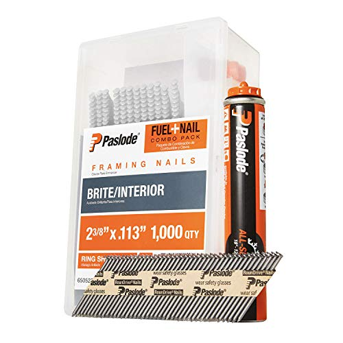 Paslode, Framing Nails and Fuel Pack, 650523, 2 3/8 inch x .113 Gauge, Ring Brite, 1 Fuel Cell and 1,000 Nails
