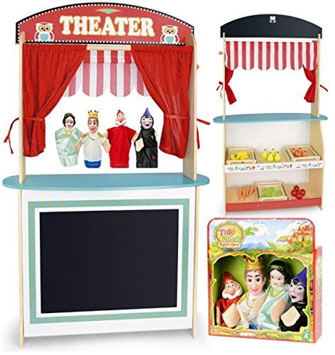 Leomark Puppentheater und Supermarkt aus Holz ~ 4 Marionette Handpuppen ~ Kasperletheater mit Zubehör für Kinder /3in1/