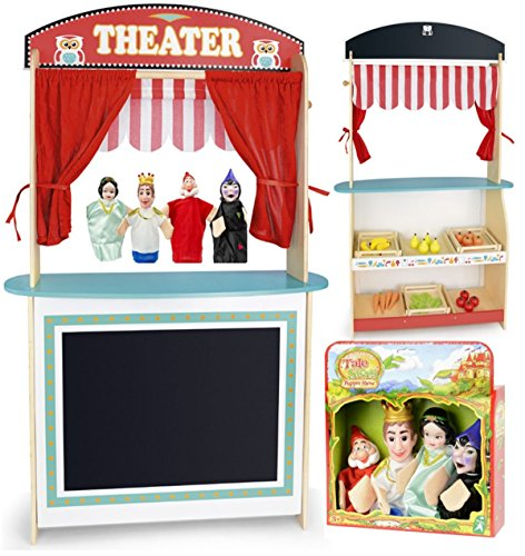 Leomark giocattolo teatro dei burattini, delle bambole per bambini, set di 4 marionette teatrino in legno, sipario e negozio, mensola per giocare burattini 4 pezzi, dimensioni: 68x22x108cm (LxPxA)