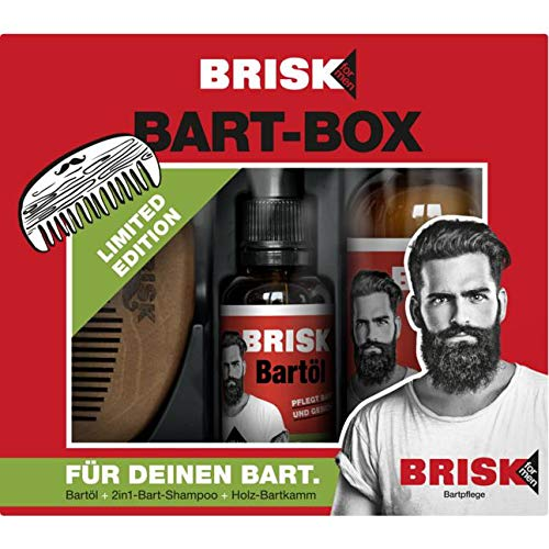 Brisk for Men Bart-Box Geschenkset 1 Stück bestehend aus 2in1-Bart-Shampoo Teebaumöl 150 ml, Bartöl Teebaumöl 30 ml & Bartkamm