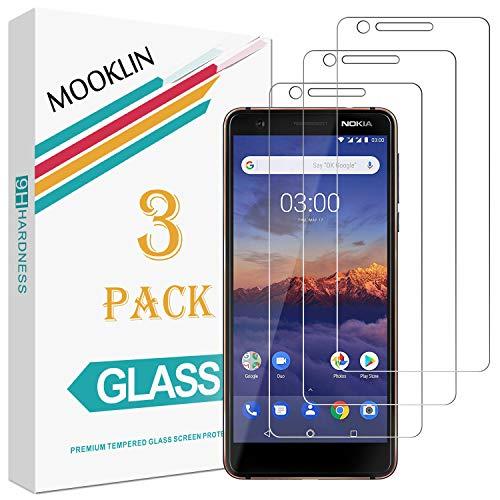 MOOKLIN Nokia 3.1 Panzerglas Bildschirmschutzfolie,[3 Stück] [Easy Install Kit] [Anti-Kratzen] Vollständige Abdeckung Handy Schutzfolie für Nokia 3.1