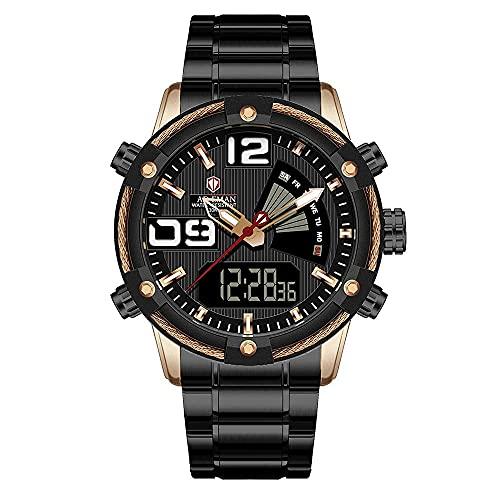 XYCSM Puntero Digital Dual Mostrar Relojes para Hombres, Banda de Acero Inoxidable 3Atm Impermeable Calendario Luminoso Calendario de Calendario de Negocios Modo Casual Reloj Reloj