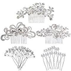 ❤The suit includes a butterfly hair comb, a hair comb and a willow hair comb, a 10pcs adjustable shape pearl hair floral flower and a 10pcs U-shaped pearl hairpin. ❤This is a special gift for the bride. It can not keep the bride's head wedding, and t...