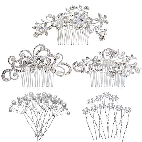REVEW 23 PCS Wedding Hair Comb Bridal Hair Accessories, Women Hair Side Comb Crystal Pearl Hair Pins Clips for Brides and Bridesmaids